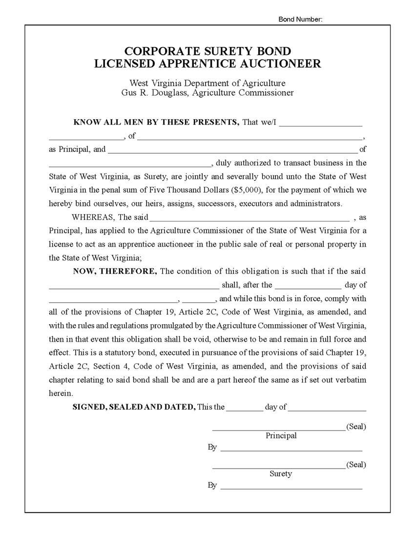 Apprentice Auctioneer Bond sample image